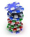 Poker gambling chips falling in pile top view Stock Photo