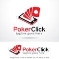 Poker Game Click Logo Template Design Vector