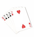 Poker hand ranking, symbol set Playing cards in casino: hight hand, King, seven, five, three, two on white background, luck abstra Royalty Free Stock Photo