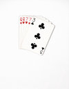 Poker hand ranking, symbol set Playing cards in casino: two pairs,queen, seven on white background, luck abstract Royalty Free Stock Photo