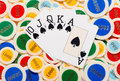Poker hand with a straight flush in spades Royalty Free Stock Photo