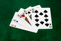 Poker hands two pair aces kings ten hand the hand contains cards of the same rank plus cards of another rank that match each other Stock Photo