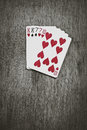Poker Hands - TWO-PAIR. Five playing cards forming the famous poker dead man`s hand. Royalty Free Stock Photo
