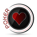 Poker icon with red heart symbol on a white background