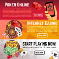 Poker online gaming lottery internet casino vector banners set Royalty Free Stock Photo
