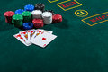 Poker play. Chips and cards Royalty Free Stock Photo