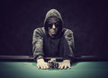 Poker player going all-in Royalty Free Stock Photography