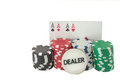 Poker royal flush and gambling chips Stock Photo