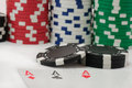 Poker royal flush and gambling chips Royalty Free Stock Image