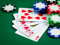 Poker royal flush playing cards show in game Royalty Free Stock Photos