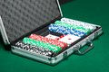 Poker set in silver suitcase Royalty Free Stock Photo