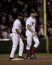 Pokey reese and gabe kapler red sox teammates after a red sox victory image taken from color slide Stock Image
