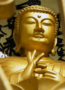 Pokhara nepal may gold buddha from the world peace pagoda in on Royalty Free Stock Image