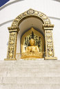 Pokhara nepal may gold buddha from the world peace pagoda in on stupa built by japanese money and Royalty Free Stock Photography