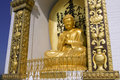 Pokhara nepal may gold buddha from the world peace pagoda in on there are four different buddhas which are Stock Images