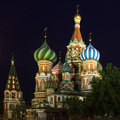 Pokrovsky cathedral against night sky Royalty Free Stock Images