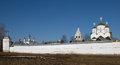Pokrovsky monastery in suzdal morning spring landscape with Royalty Free Stock Image