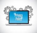 Política de privacidad de la muestra del ordenador portátil del ordenador Fotografía de archivo libre de regalías