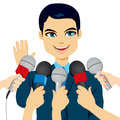Político answering press questions Fotos de Stock Royalty Free