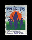 Poland circa oct canceled stamp printed in poland shows dr janusz korczak and children birth centenary circa vintage post stamp Stock Photo