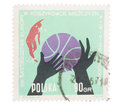 POLAND, CIRCA 1963:Post stamp printed in showing ball, ha