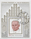 POLAND, circa 1982: postage stamp printed in Poland showing an image of John Paul II, circa 1982 Royalty Free Stock Photo