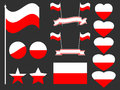 Poland flag set. Collection of symbols, flag in heart. Button and star. Vector Royalty Free Stock Photo