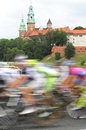 Poland krakow bike race wawel castle towers in the background Royalty Free Stock Photos