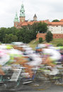 Poland krakow bike race wawel castle towers in the background Stock Photography