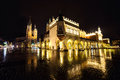 Poland, Krakow. Market Square at night.The Main Market Square in
