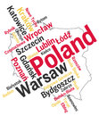 Poland map and cities Royalty Free Stock Photo