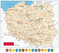 Poland Map and Colored Icons Royalty Free Stock Photo
