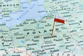 Poland map flag pin Royalty Free Stock Photo