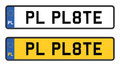 Poland number plate white and yellow Stock Photos