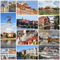 Poland photo collage from collage includes major cities like warsaw gdansk torun bydgoszcz plock and grudziadz Royalty Free Stock Photo