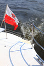 Poland Polish Ensign Flag on yacht sea Royalty Free Stock Photography