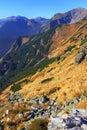 Panoramic landscape view of Tatra Mountains, near Zakopane in Poland