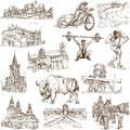 Poland traveling series collection of an hand drawn illustrations description full sized hand drawn illustrations isolated on Stock Images