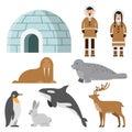 Polar, arctic animals and residents of the north near eskimo ice house Royalty Free Stock Photo