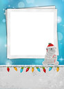 Polar bear christmas frame with tinsel and light for holiday Royalty Free Stock Image