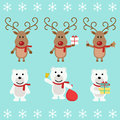 Polar bear and Christmas reindeer. Funny cartoon character. Vector illustration. Isolated on white background Royalty Free Stock Photo