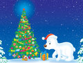 Polar Bear and Christmas tree Royalty Free Stock Photography