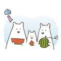 Polar bear family eating watermelon