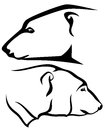 Polar bear head profile black and white outline Stock Photo