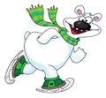 Polar bear on ice skates Royalty Free Stock Images