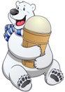 Polar bear label with ice cream. Vector Illustration. Royalty Free Stock Photo