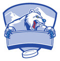 Polar bear mascot as a hockey Stock Images
