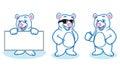 Polar bear mascot happy pose and bring board Stock Photography