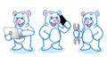 Polar bear mascot with laptop phone and tools Royalty Free Stock Images