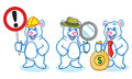 Polar bear mascot with sign money and magnifying Stock Image